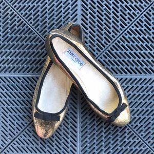 💯 Jimmy Choo gold ballet slippers